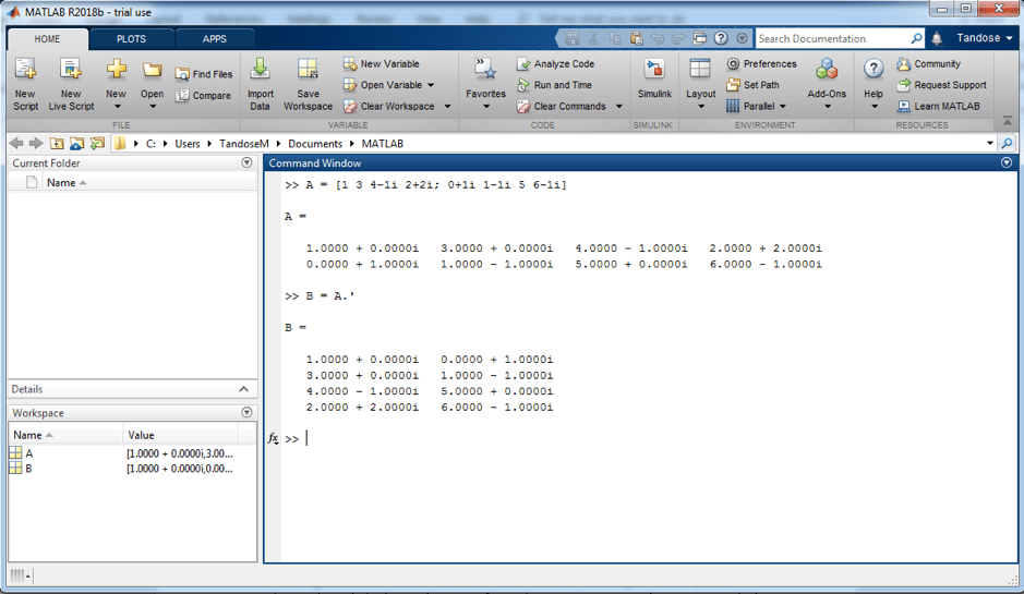 matlab transpose matrix