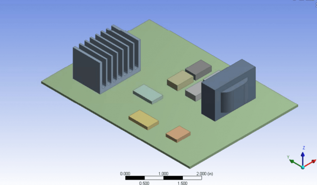 Sample geometry with a heatsink, transformer, and other electrical components