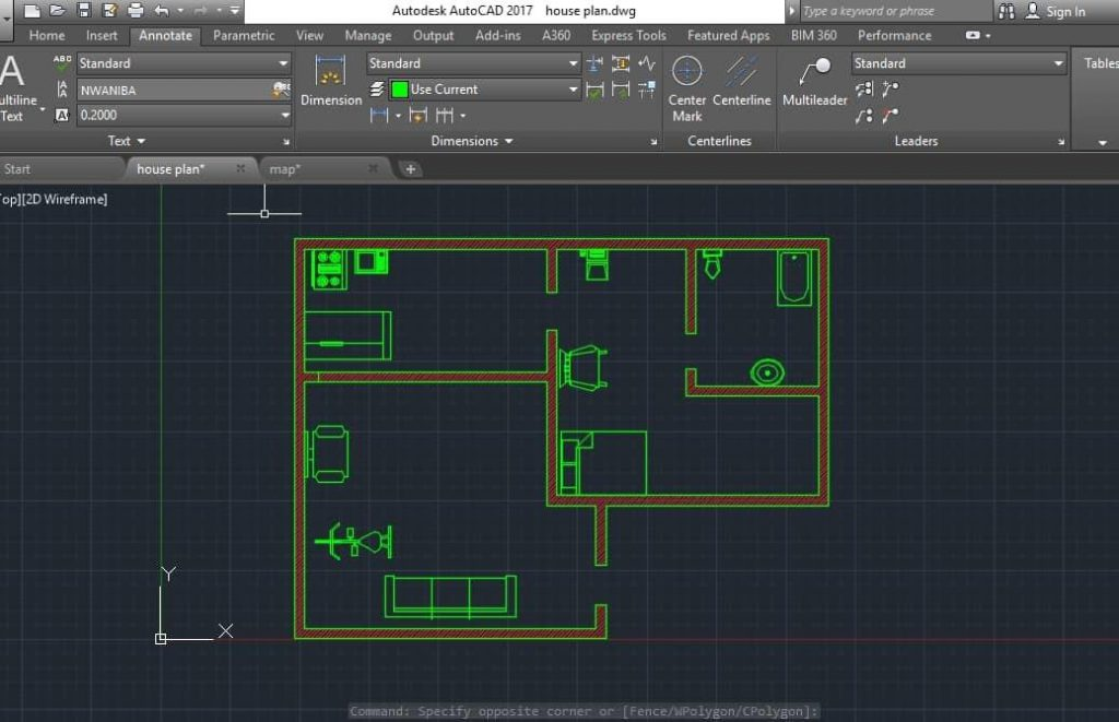 building plan drawing with map/footprint in it