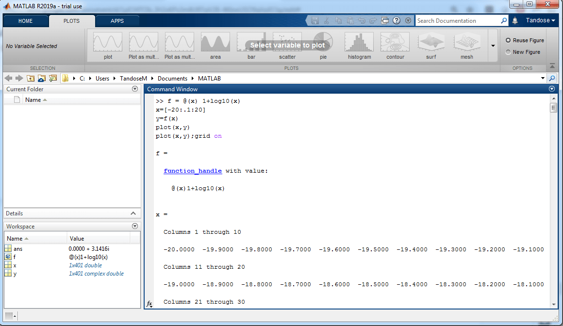 MATLAB system with the input code